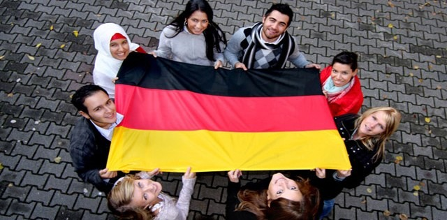 Students  displaying their home flag.